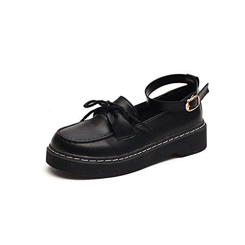 Korean Fashion Original Bed Black Dick Bottom Shoes,Student Englisch Wind 100 Fuß Ring Schnallen Gürtel Schuhe A
