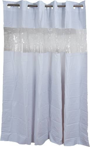 Arcs Angles HBH08VIS01 Hookless Shower Curtain With Clear Window White