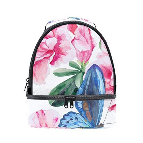 hombro acuarela la con almuerzo de Alinlo mariposas con ajustable escuela con de de y correa para floral pincnic de aislamiento Bolsa estampado wUnFWzqZF