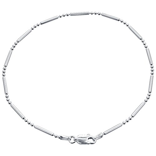 Gem Avenue Italian 925 Sterling Silver Chain Ankle Bracelet With Spring Ring Clasp (9'' - 11'' Available) by Gem Avenue