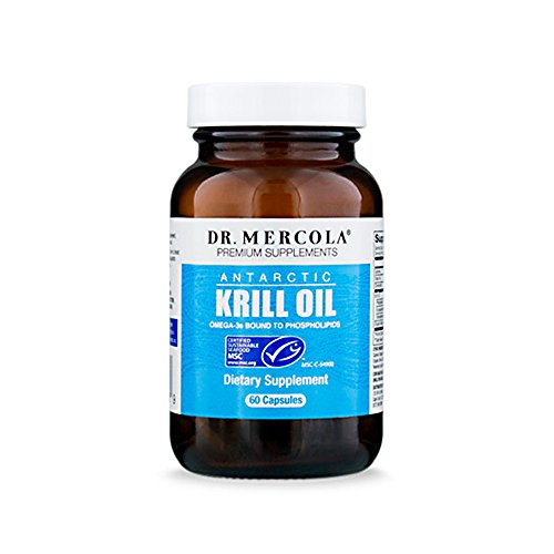 Dr. Mercola Antarctic Krill Oil - 60 Capsules - 1000MG Omega 3 Supplement With EPA DHA Phospholipids & Astaxathin - Odorless & Mercury Free - For Brain, Joint & Heart Health