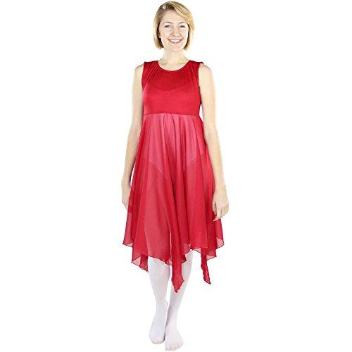 Danzcue Womens Worship Praise Dance Pullover Vest, Scarlet, S/M -