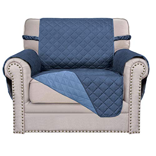 Sofa Covers,Slipcovers,Reversible Quilted Furniture Protector,Water Resistant,Improved Couch Shield with Elastic Straps Anti-Slip Foams,Micro Fabric,Kids,Cats, Dogs,Pets, (Chair, Dark Blue/Light Blue) -