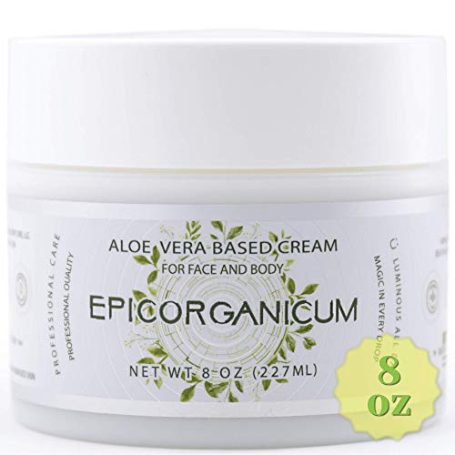 Organic Aloe Vera Moisturizing Cream Body and Face Moisturizer For Acne, Psoriasis, Rosacea, Eczema, Aging, Itchy Dry or Sensitive Skin Care Cream, 8 oz Skin Care Face Natural Cream (8 OZ) (Best Face Cream For Dry Face)