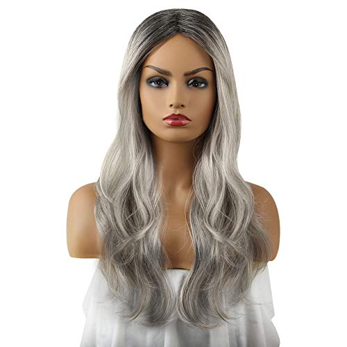 Ombre Grey 2Tones Synthetic Wig Free Parting by LIANPENG,Daily Cosplay Party Wig with Dark Roots Long Natural Looking Curly Silver Grey Color, High Density Wig with Heat Resistant Fiber 22
