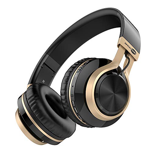 Baseman Wireless Bluetooth Headphones with Mic, Wired and Wirelss Mode, Over Ear Lightweight Foldable Headset, Hi-Fi Stereo Deep Bass Earphones for Travel Work, for Phone TV PC (Black Gold)