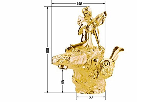 GOWE gold Finish Bathroom single Handle Basin beauty Faucet Flower Fairy sink faucet artistic luxurious Taps by Gowe