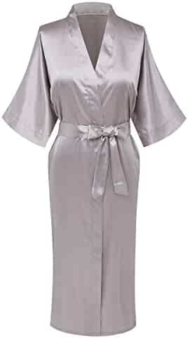 Giova Pure Color Satin Full Length Silky Bathrobe Sleepwear Nightgown Pajama 1a3504c54
