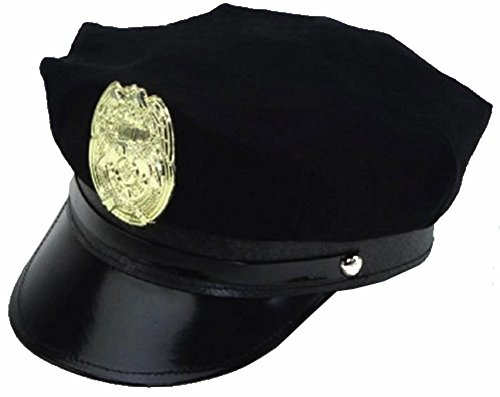 [Dress Up Hats for Adults - Costume Party Hats for Men Women Unisex BY Funny Party Hats (Black Police Cap With] (Cop Hat)