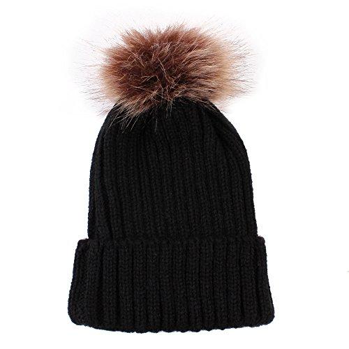 DongDong Newborn Cute Hat, Solid Cuffed Oversized Hairball