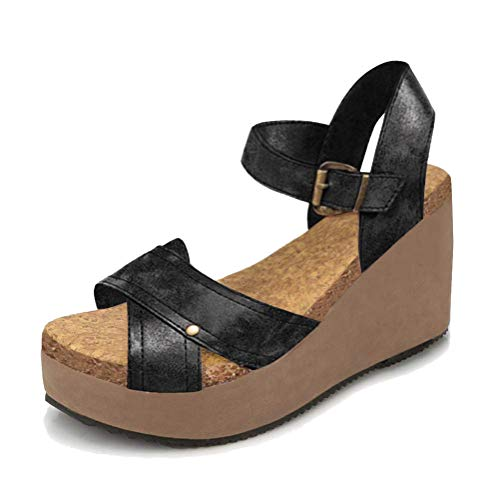 Sandali Eleganti Donna Romani Minetom Retro Fibbia Nero Casual Scarpe Piattaforma Moda Shoes Zeppa B Sandals PU Estivi Td58x5p