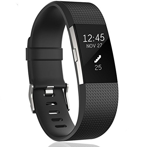 Kutop Fitbit Charge 2 Band Soft Silicone Flexible Wristband Durable Fitness Sports Accessories Adjustable Replacement Strap for Fitbit Charge 2 HR Large Small