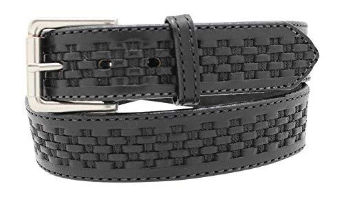(Men's Basketweave Embossed Work Belt - 1 1/2