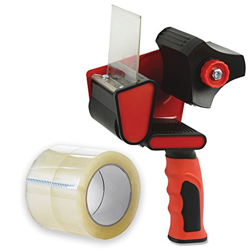 Packing Tape Handheld Dispenser, with 2 Free Rolls of Packaging Tape, 2-Inch-Wide 55-Yard-Long - Easy To Tape Boxes, Seal Cartons, Easy Side Loading, Excellent Tape Dispenser for Shipping, ()