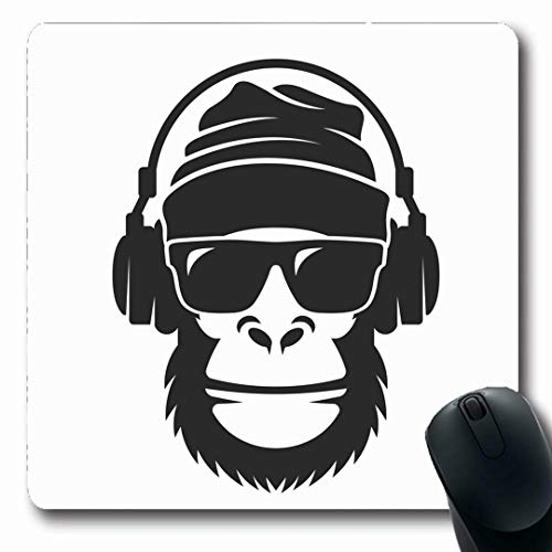 599ba8413966 Ahawoso Mousepads Oblong Shape 7.9 x 9.5 Inches Music Gorilla Hat  Sunglasses Headphones Hip Cool Monkey Sports Recreation Head Rap Non-Slip  Gaming ...