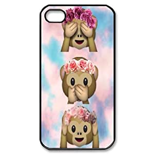 Sexyass Cute Monkey Emoji Wit Flower Case for IPhone 4/4s, with Black