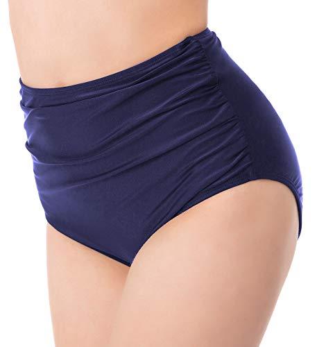 (Ruched Bikini Bottoms for Women Black Retro High Waisted Tankini Swim Shorts (3XL, Navy))