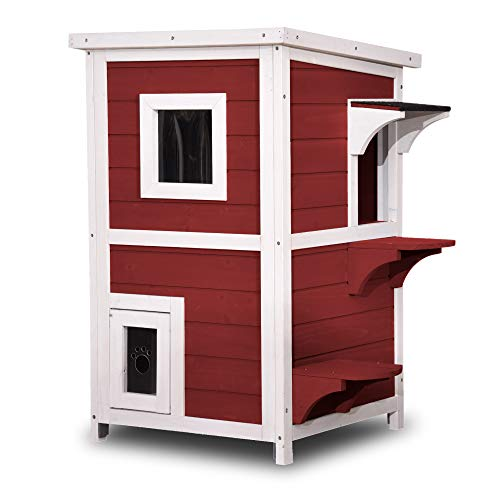 Lovupet 2 Story Weatherproof Wooden Outdoor/Indoor Cat Shelter House Condo with Escape Door 0508 (Auburn)