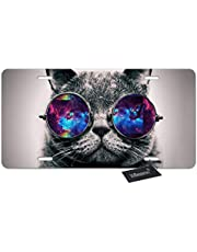 WONDERTIFY License Plate Funny Cat Wear Sunglass with Space Pattern Decorative Car Front License Plate,Vanity Tag,Metal Car Plate,Aluminum Novelty License Plate for Men/Women/Boy/Girl Car,6 X 12 Inch