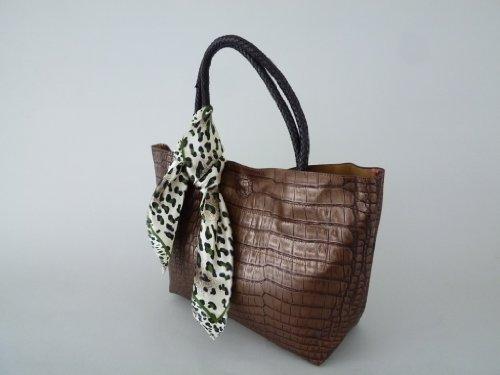 Elegante Damentasche in Krokodil-Lederoptik braun-bronze , Tasche, Shopper