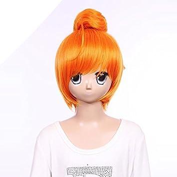 Kurz Orange Bob Perücke von Lächeln Curly Sunny Spitzefrontschnitt ...