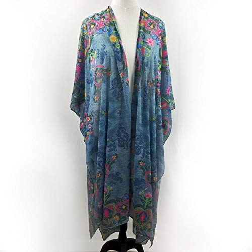 Swedish Folk Embroidery & Denim Sheer Kimono Robe Wrap