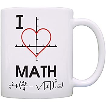 Gift I Math Algebra White Heart Mathematics Coffee Graph Funny Calculus Tea Cup Mug Love bfIgyY76v