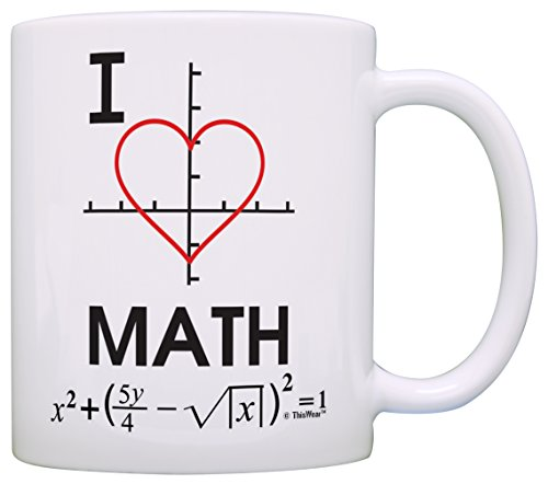Funny Math Mug I Love Math Heart Graph Calculus Algebra Mathematics Gift Coffee Mug Tea Cup White