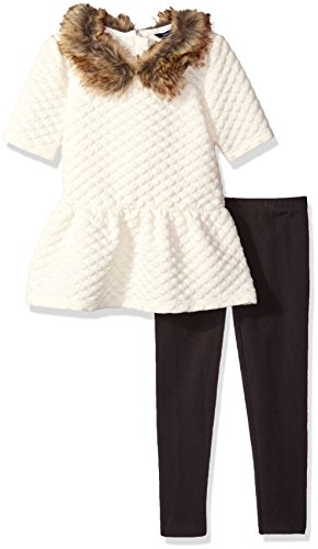 Nautica Little Girls Knit Top With Removable Faux Fur Collar and Legging Set, Cream, 4 by Nautica