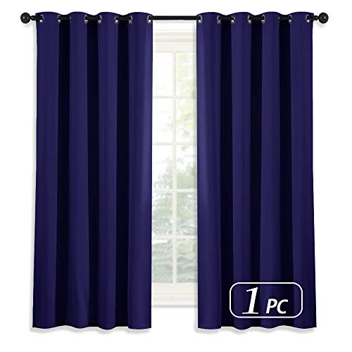 (NICETOWN Dark Blue Curtain 63 Inches Long - Home Decoration Light Blocking Room Dakening Drape/Drapery for Nursery Room, Ring Top, 52 inch Wide by 63 inch Long, 1 PCS)