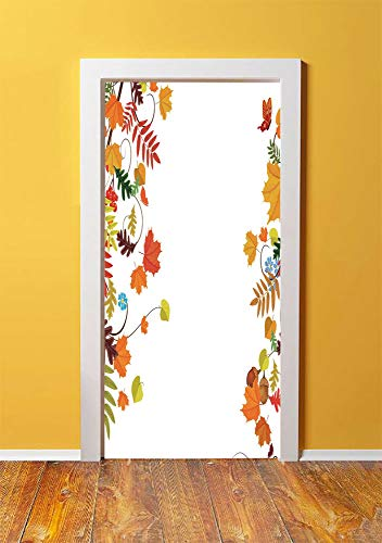 (Harvest 3D Door Sticker Wall Decals Mural Wallpaper,Colorful Seasonal Maple Aspen Leaves Frame Fall Foliage Environment Nuts Butterfly,DIY Art Home Decor Poster Decoration 30.3x78.3297,Multicolor )