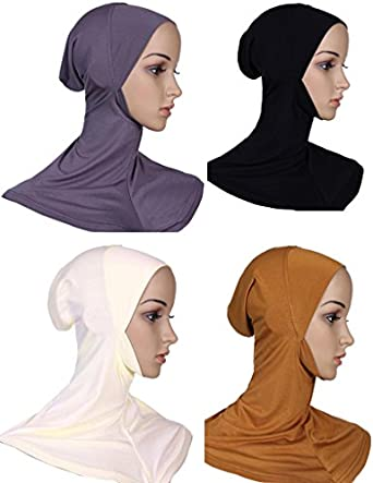 GladThink Womens Muslim Mini Full Cover Hijab Caps Islamic Scarf 4 Pieces