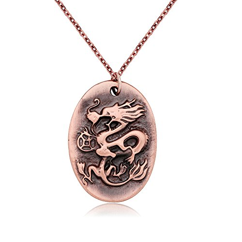 CHUANGYUN Cute Cartoon Chinese 12 Zodiac Classic Personalized Antique Copper Necklace, Horoscope Animal / Sign Amulet (Chinese Zodiac Dragon Symbol)