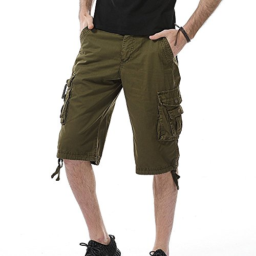 - SSYUNO Men's Casual Pure Color Cargo Shorts Pant Pocket Beach Work Trouser Outdoor Wear Lightweight Army Green