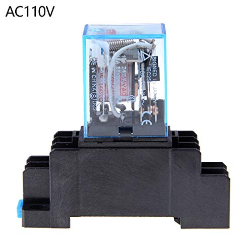 - Lhoste MY4NJ HH54P Relay 12-220V AC Coil General Purpose DPDT Micro Mini Relay with Socket Base Holder - AC110V