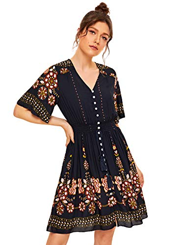 (Milumia Women Flutter Sleeve V Neck Short Embroidery Floral Dress Multicolor-10 S)