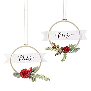 Ling's moment 2-Set Wedding Backdrop Handcrafted Flower Wreaths, Rustic Wedding Decor Artificial Roses Plant Flower Garland Woodland Christmas Decoration Floral Hoop 1