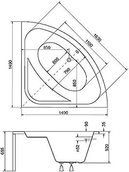 EXCLUSIVE LINE/® Eckbadewanne Eckige Acryl Badewanne LUXUS 148x148 cm mit Sch/ürze Ablaufgarnitur Komplettset 148x148 cm, mit Sch/ürze