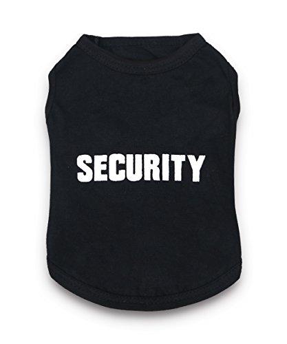 DroolingDog Dog Shirts Security Pattern Dog T Shirt Pet Costume Dog Clothes for Small Dogs Boy, XL, Black ()