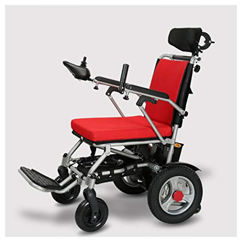 NKDK Electric Wheelchair - Electric Wheelchair Foldable Lightweight Elderly Aluminum Alloy Electromagnetic Brake Scooter