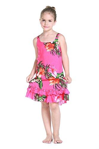 Girl Tank Ruffle Hawaiian Luau Dress in Hot Pink