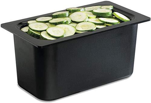 San Jamar CI7002 Chill-It 1/3 Divided Food Pan, 135 oz Capacity, Black