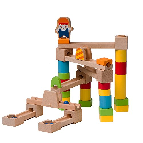 BooKid Durable Wooden Marble Run Toys for Toddlers 40 Marble Track Pieces by Bookid Toys (Image #2)