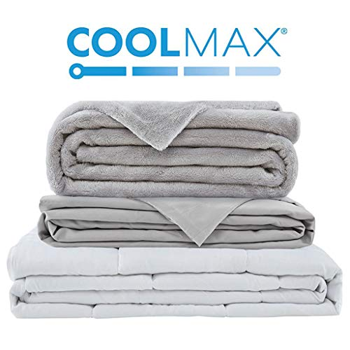 Degrees of Comfort Weighted Blanket w/ 2 Duvet Covers Include Cooling Coolmax for Hot & Cold Sleepers|Advanced Nano-Ceramic Beads Deliver Durability & Silky Comfort (60x80 20lbs, Grey)