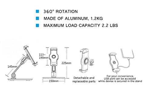AboveTEK-Sturdy-Desktop-Tablet-Stand-Cell-Phone-Stand-Compact-360-Swivel-iPad-iPhone-Mount-Holder-Fits-4-11-TabletsSmartphones-For-Kitchen-Bedside-Table-Office-Desk-POS-Kiosk-Reception-Showroom
