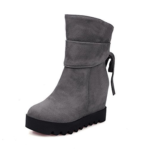 Up Girls Rubber Shoes Lace AdeeSu Heel Solid Gray Boots Wheeled qAxxE0dg