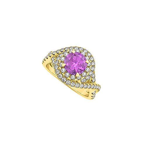 Cool Design Amethyst and CZ Engagement Ring 1.75 TGW