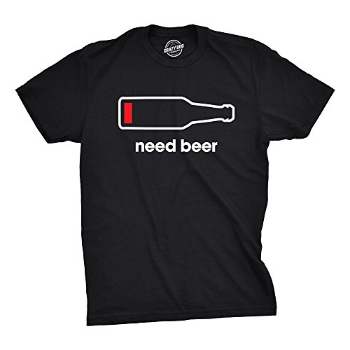 Mens Need Beer Tshirt Funny Drinking Cell Phone Battery Tee for Guys (Black) - XXL (Dog Ale)