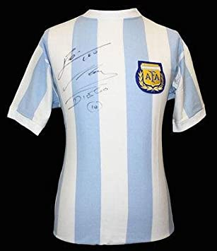 7824443be LIONEL MESSI   DIEGO MARADONA Signed Official Argentina Shirt Jersey ICONS  - Autographed Soccer Jerseys at Amazon s Sports Collectibles Store