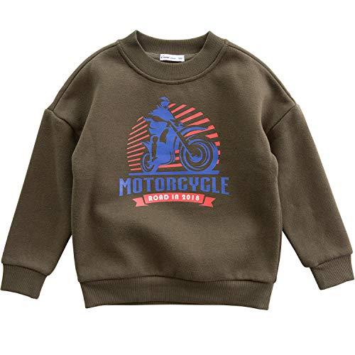 (CUNYI Boys' Fashion Fleece Sweatshirt Crewneck Pullover Hoodie, 120 Army Green)